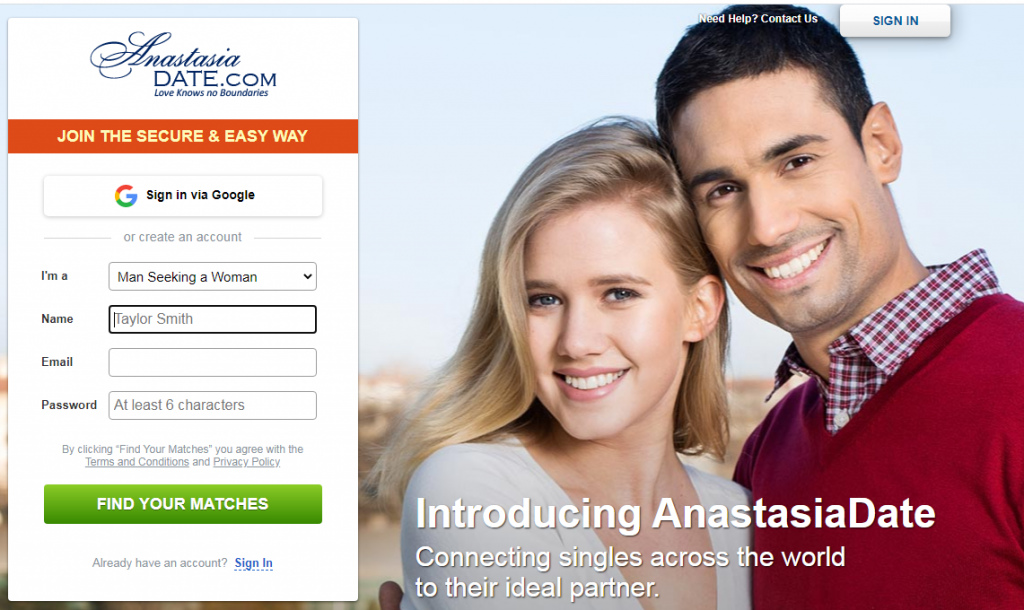 anastasiadate.com homepage